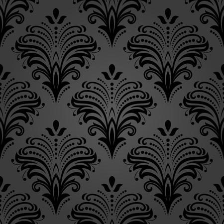 repeats: Floral vector dark ornament. Seamless abstract classic background with flowers. Pattern with repeating elements Illustration