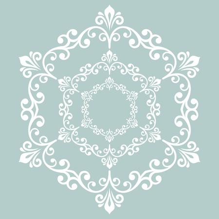 エレガントなベクトルはラウンド クラシック スタイルの白い飾りです。東洋の要素クラシック ビンテージ パターンと抽象柄