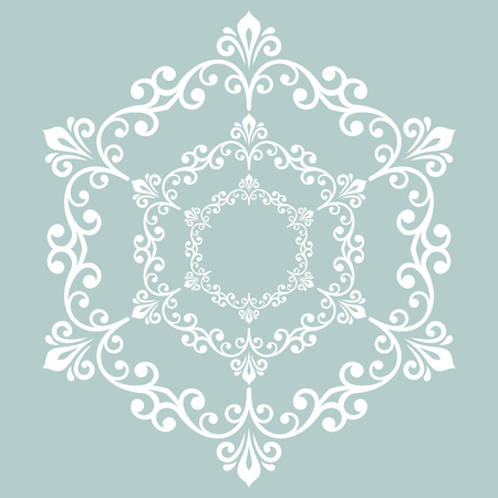 victorian christmas: Elegant vector round white ornament in classic style. Abstract traditional pattern with oriental elements, Classic vintage pattern
