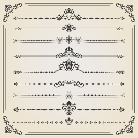 separators: Vintage set of decorative elements. Horizontal separators in the frame. Collection of different ornaments. Classic patterns. Set of vintage patterns