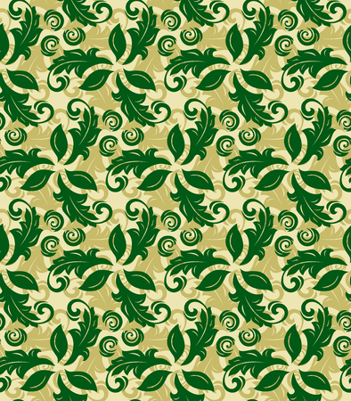 green flowers: Floral vector green and golden ornament. Seamless abstract classic background with flowers. Pattern with repeating elements