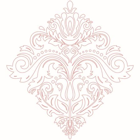 victorian christmas: Elegant vector pink ornament in classic style. Abstract traditional pattern with oriental elements, Classic vintage pattern