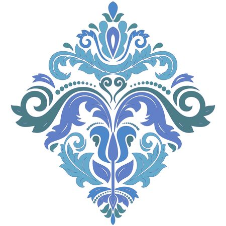 Elegant vector blue square ornament in classic style. Abstract traditional pattern with oriental elements, Classic vintage pattern