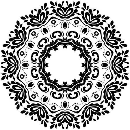 victorian christmas: Elegant vector round black ornament in classic style. Abstract traditional pattern with oriental elements, Classic vintage pattern