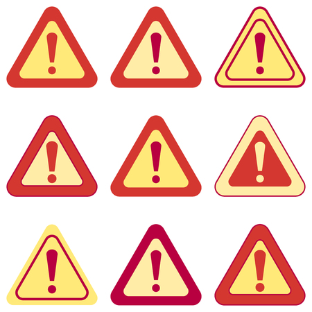 yellow beware: Set of vector exclamation signs. Collection of various colored signs Illustration