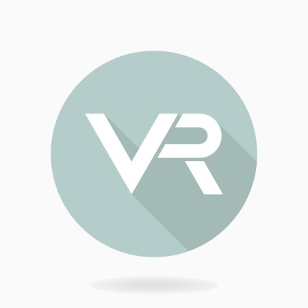 Fine vector icon with VR logo in circle. Flat design with long shadow. Virtual reality logo