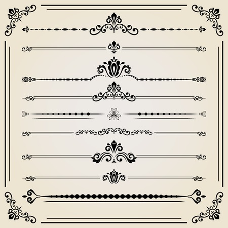 separators: Vintage set of vector decorative elements. Horizontal separators in the frame. Collection of different ornaments. Classic patterns. Set of vintage patterns