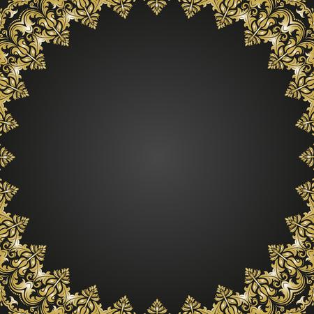 古典的なベクトル ゴールデン アラベスクと東洋の要素を持つ正方形のフレーム。テキストの抽象的な髪飾り。ビンテージ パターン