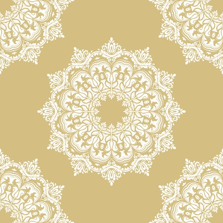 Damask vector classic golden and white pattern. Seamless abstract background with repeating elements. Orient background Illustration