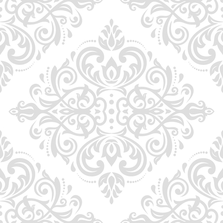 Classic seamless vector light silver pattern. Traditional orient ornament. Classic vintage background Иллюстрация
