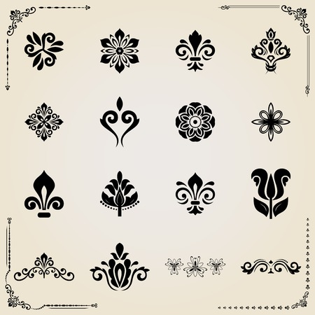 royal wedding: Vintage set of vector elements. Different elements for decoration and design frames, cards, menus, backgrounds and monograms. Classic patterns. Set of vintage patterns