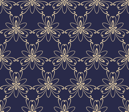 repeats: Floral vector navy blue and golden ornament. Seamless abstract classic background with flowers. Pattern with repeating elements Illustration