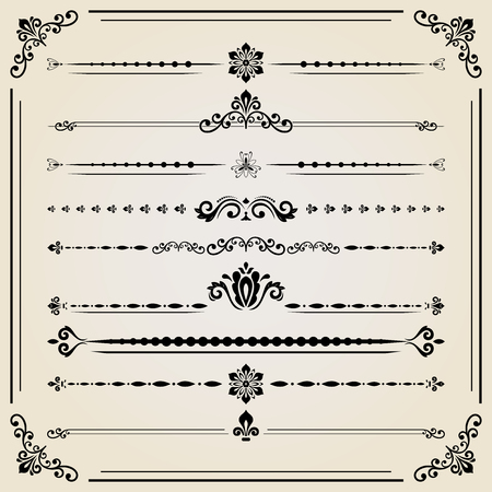 separators: Vintage set of vector decorative elements. Horizontal separators in the frame. Collection of different ornaments. Classic pattern. Set of vintage patterns