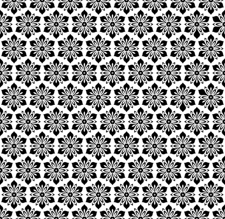 repeats: Floral vector black and white ornament. Seamless abstract classic background with flowers. Pattern with repeating elements Illustration