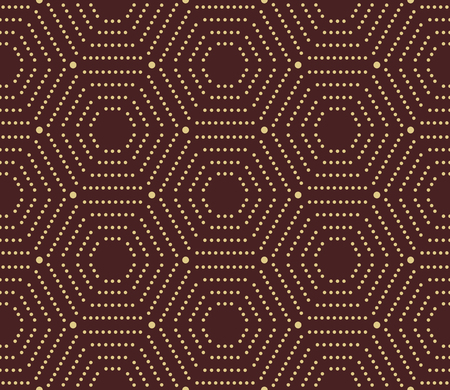 diagonal stripes: Geometric repeating vector ornament with hexagonal dotted golden elements. Geometric modern ornament. Seamless abstract modern pattern