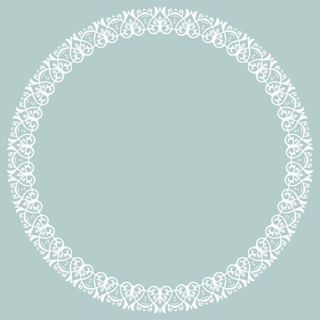 Oriental Vector Round White Frame With Arabesques And Floral ...