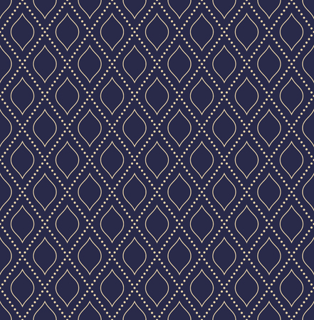 Geometric dotted vector blue and golden dotted pattern. Seamless abstract modern texture for wallpapers and backgrounds