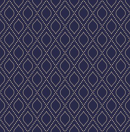 Modello punteggiato blu e dorato di vettore punteggiato geometrico. Struttura moderna astratta senza cuciture per sfondi e sfondi