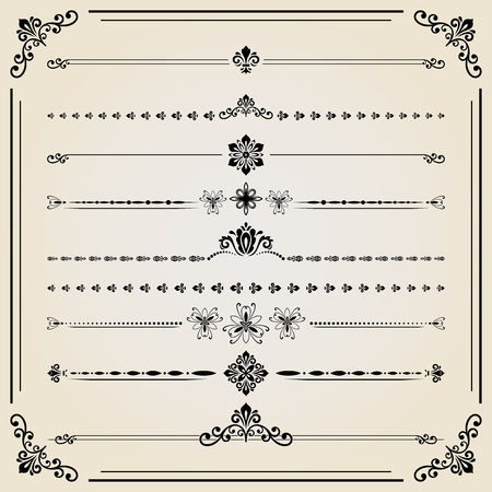 separators: Vintage set of vector decorative elements. Horizontal separators in the frame. Collection of different ornaments.