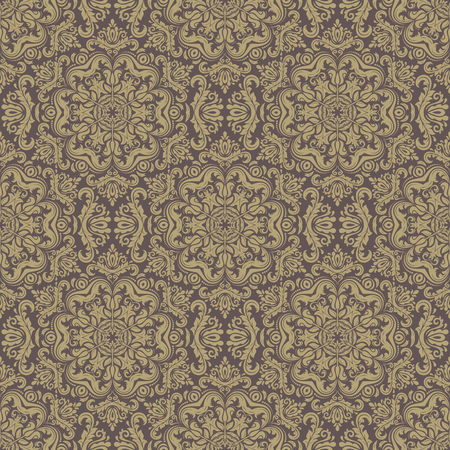 oriental vector: Damask seamless pattern. Fine vector traditional ornament with oriental golden elements Illustration