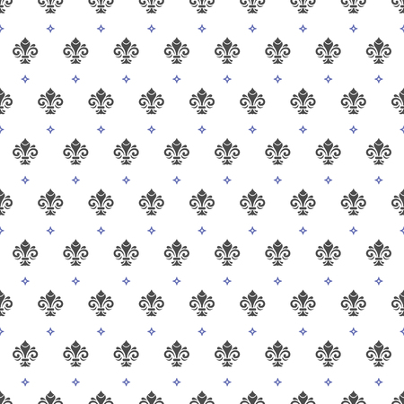 royal: Seamless vector pattern. Modern geometric ornament with royal lilies. Classic vintage background Illustration