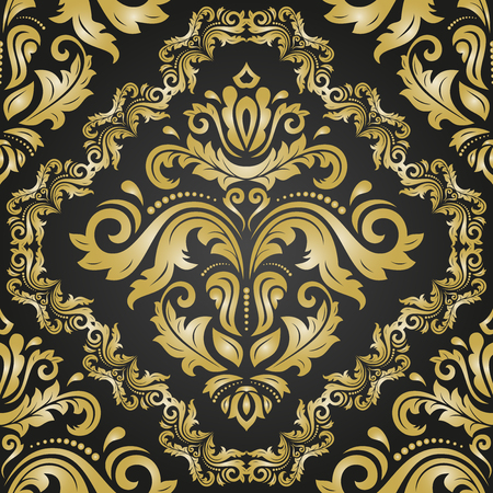 gold textured background: Classic seamless vector golden pattern. Traditional orient ornament. Classic vintage background
