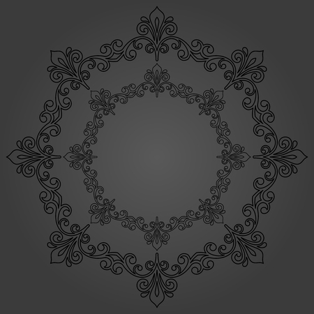 Elegant vector round dark ornament in classic style. Abstract traditional pattern with oriental elements. Classic vintage pattern