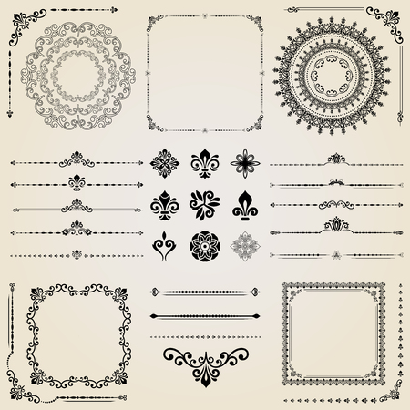 jewerly: Vintage set of vector horizontal, square and round elements. Different elements for decoration design, frames, cards, menus, backgrounds and monograms. Classic patterns. Set of vintage patterns Illustration