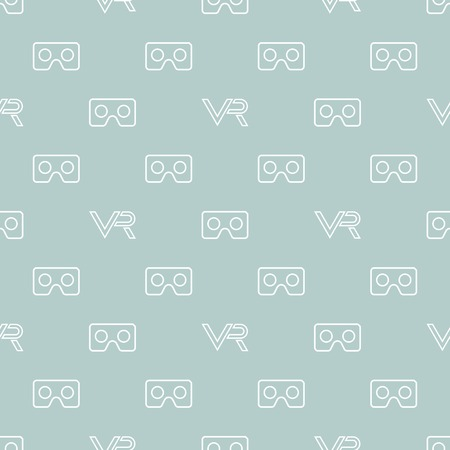 Seamless vector light blue and white pattern with VR logos. Virtual reality logos Illustration