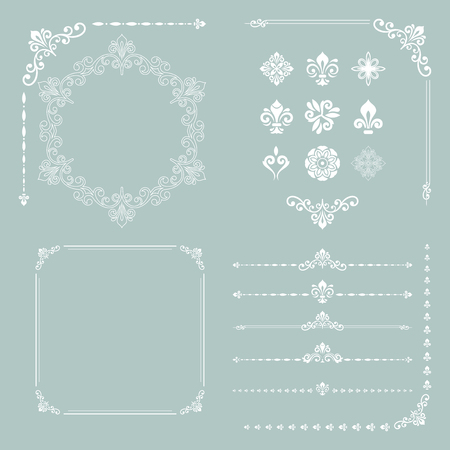 jewerly: Vintage set of vector horizontal, square and round elements. Different elements for decoration design, frames, cards, menus, backgrounds and monograms. Classic patterns. Set of vintage white patterns Stock Photo