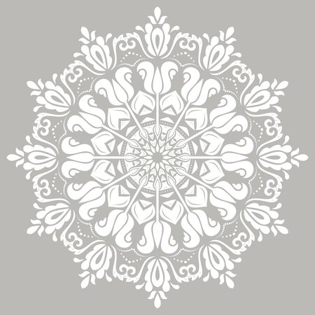 Oriental round white pattern with arabesques and floral elements. Traditional classic ornament. Vintage pattern with arabesques Stock Photo