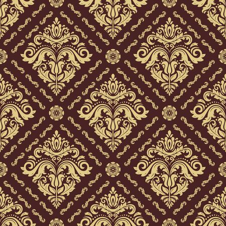 Classic seamless vector brown and golden pattern. Traditional orient ornament. Classic vintage background