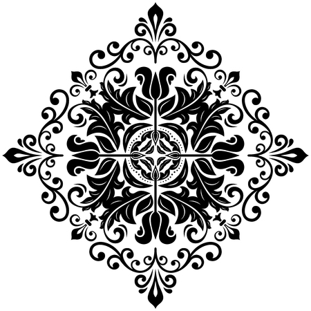 Elegant vector square black ornament in classic style. Abstract traditional pattern with oriental elements. Classic vintage pattern
