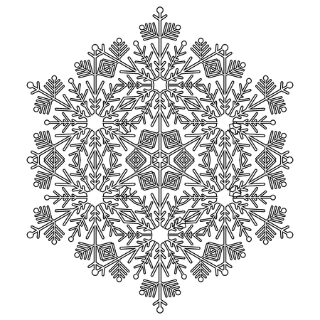 vecteur noir et blanc hiver abstrait flocon d & # 39 ; hiver flocon de neige . beau flocon de neige