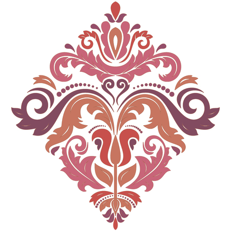 Oriental vector square colored pattern with arabesques and floral elements. Traditional classic ornament. Vintage pattern with arabesques