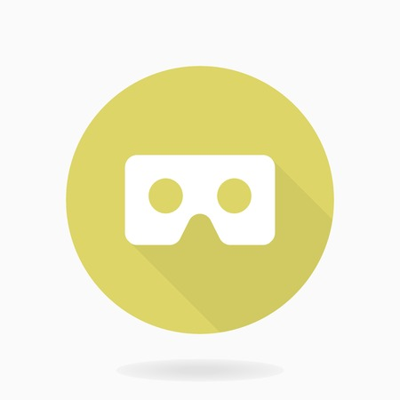 Fine vector icon with white VR logo in the golden circle. Flat design with long shadow. Virtual reality logo Illustration