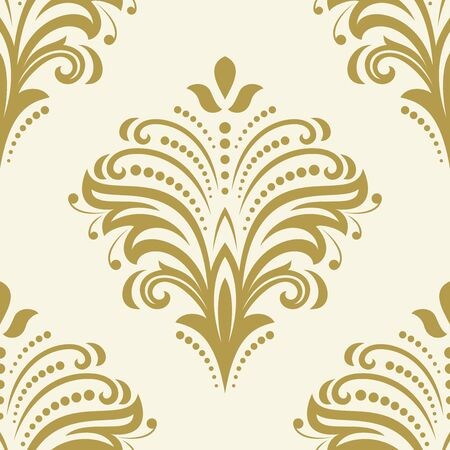 repeated: Floral vector golden ornament. Seamless abstract classic background with flowers. Pattern with repeating elements