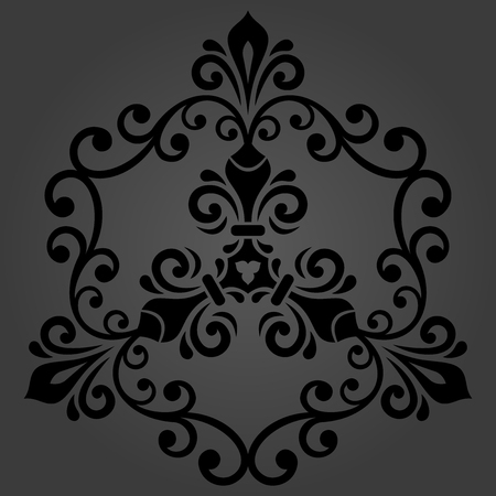 Oriental vector pattern with arabesques and floral dark elements. Traditional classic ornament. Vintage pattern with arabesques