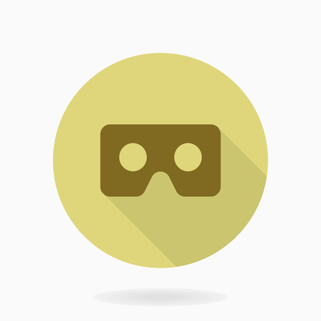 Fine icon with golden VR logo in circle. Flat design with long shadow. Virtual reality logo
