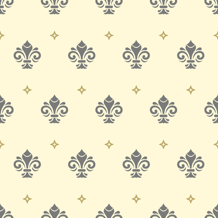 Seamless pattern. Modern geometric ornament with royal lilies. Classic vintage background 스톡 콘텐츠