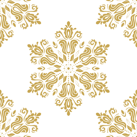 Orient vector classic golden pattern. Seamless abstract background with vintage elements. Orient background Çizim
