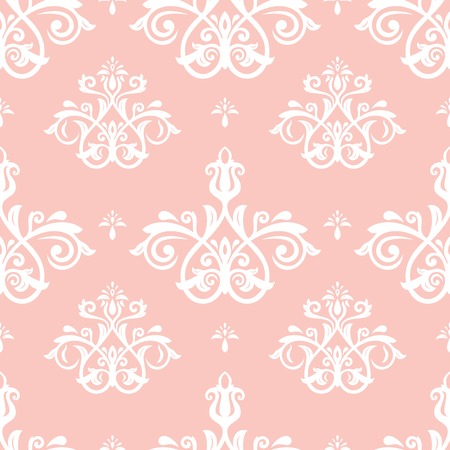 Orient vector classic pink and white pattern. Seamless abstract background with vintage elements. Orient background