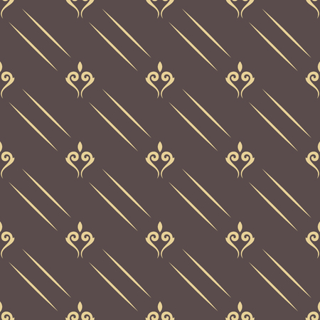 Seamless vector pattern. Modern geometric ornament with golden royal lilies. Classic vintage background