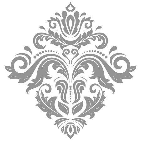 Elegant vector silver ornament in classic style. Abstract traditional pattern with oriental elements. Classic vintage pattern
