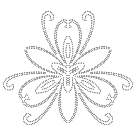 Floral vector pattern with dotted gray elements. Abstract oriental ornament. Vintage classic pattern