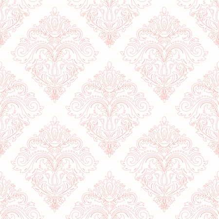 Orient vector classic pattern. Seamless abstract background with pink vintage elements. Orient background