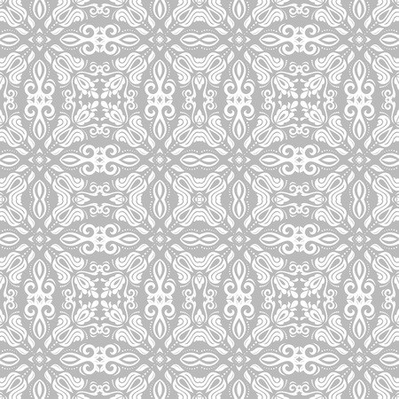 Orient vector classic light silver pattern. Seamless abstract background with vintage elements. Orient background illustration.