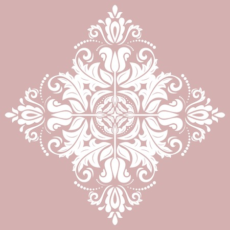 Oriental vector white square pattern with arabesques and floral elements. Traditional classic ornament. Vintage pattern with arabesques
