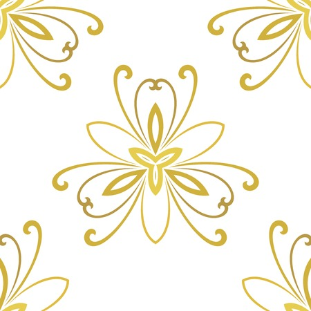 Floral vector golden ornament. Seamless abstract classic background with flowers. Pattern with repeating floral elements