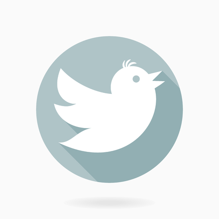 Fine vector fine icon with white flying bird in the blue circle. Flat design with long shadow
